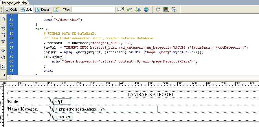 Pemrograman Web PHP MySQL Dreamweaver