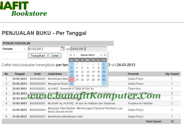 Program Kasir Toko Bookstore - Laporan Penjualan per Tanggal