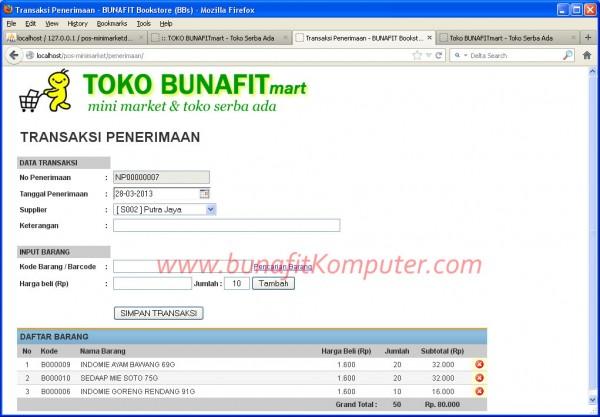 Software POS Minimarket – Halaman Kasir Penerimaan Barang dari ...