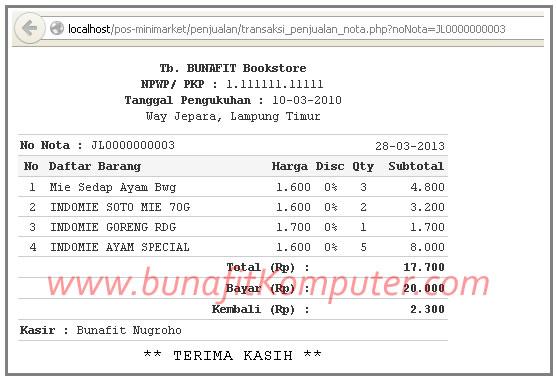 Source Code Penjualan Retail Halaman Kasir Toko 2 Struk