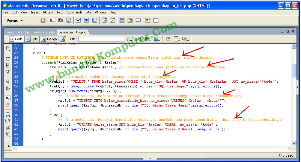 Program dibuat dengan Dreamweaver, dilengkapi dengan penjelasan kode program