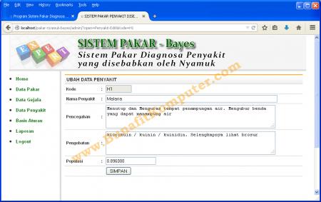 Form Manajemen Data Penyakit pada Sistem Pakar Metode Bayes Berbasis Web PHP MySQL