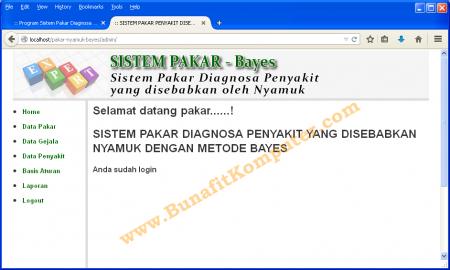Halaman Pakar (Admin) Program Sistem Pakar Metode Bayes