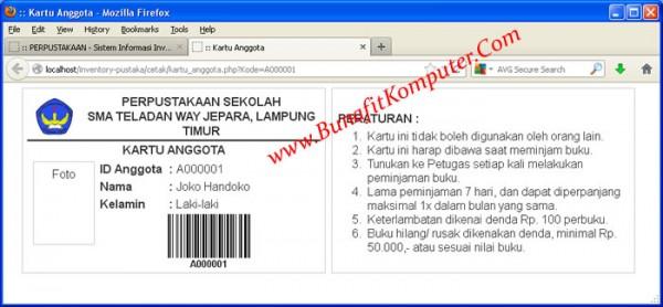 Kartu Anggota Perpustakaan dilengkapi Barcode berbasis Web PHP MySQL