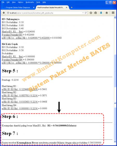 Proses dan Hasil part 2 Diagnosa pada Sistem Pakar Metode Bayes