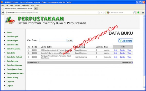 Sistem Informasi Inventory Perpustakaan PHP dan MySQL