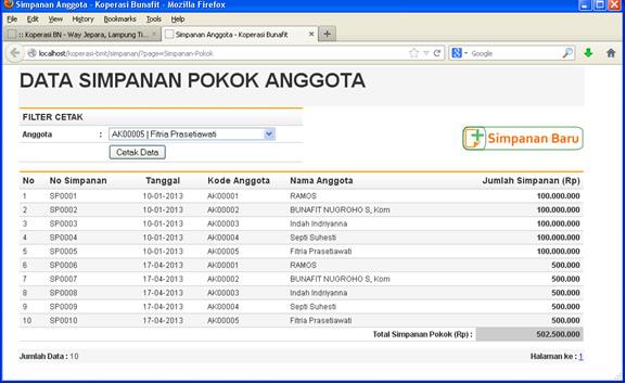 Aplikasi Koperasi - Contoh Halaman Simpanan Anggota