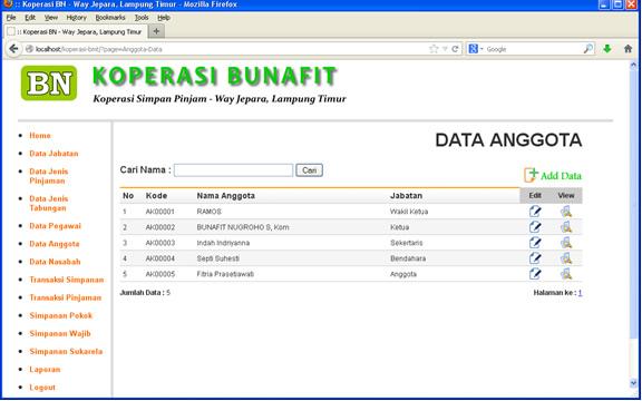 Aplikasi Koperasi - Contoh Halaman Anggota