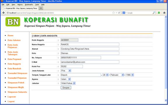 Aplikasi Koperasi - Contoh Form Input/Edit Data Anggota