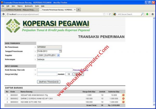 Koperasi Pegawai - Contoh Form Transaksi Pembelian (Pengadaan) Barang