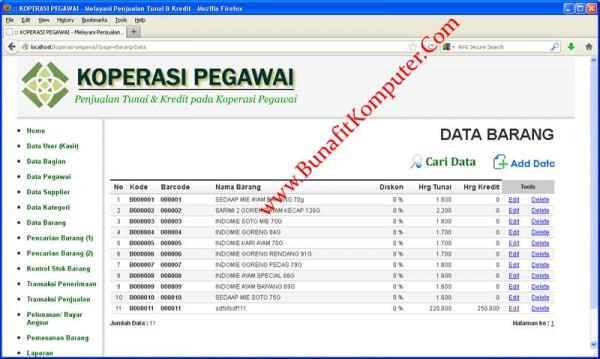 Koperasi Pegawai - Contoh Halaman Master Data Barang