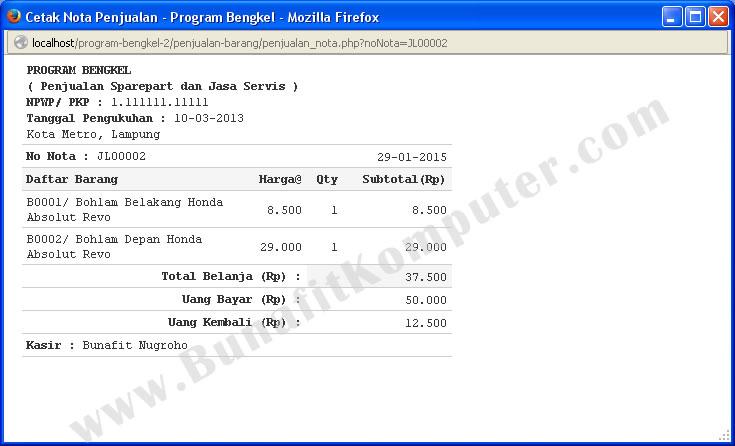 Program Bengkel Motor Bunafit Komputer