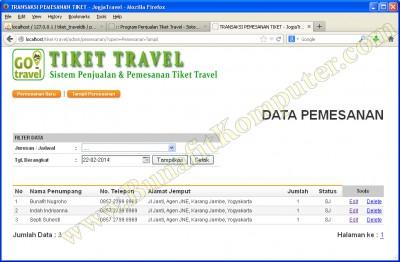 Daftar Transaksi Pesanan Tiket