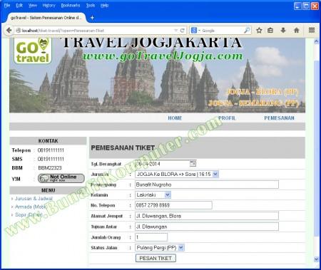 Halaman Pemesanan Tiket, dengan memesan Online maka Calon Penumpang dapat langsung dikonfirmasi oleh Agen/Sopir dan dapat dijemput di tempat janji.