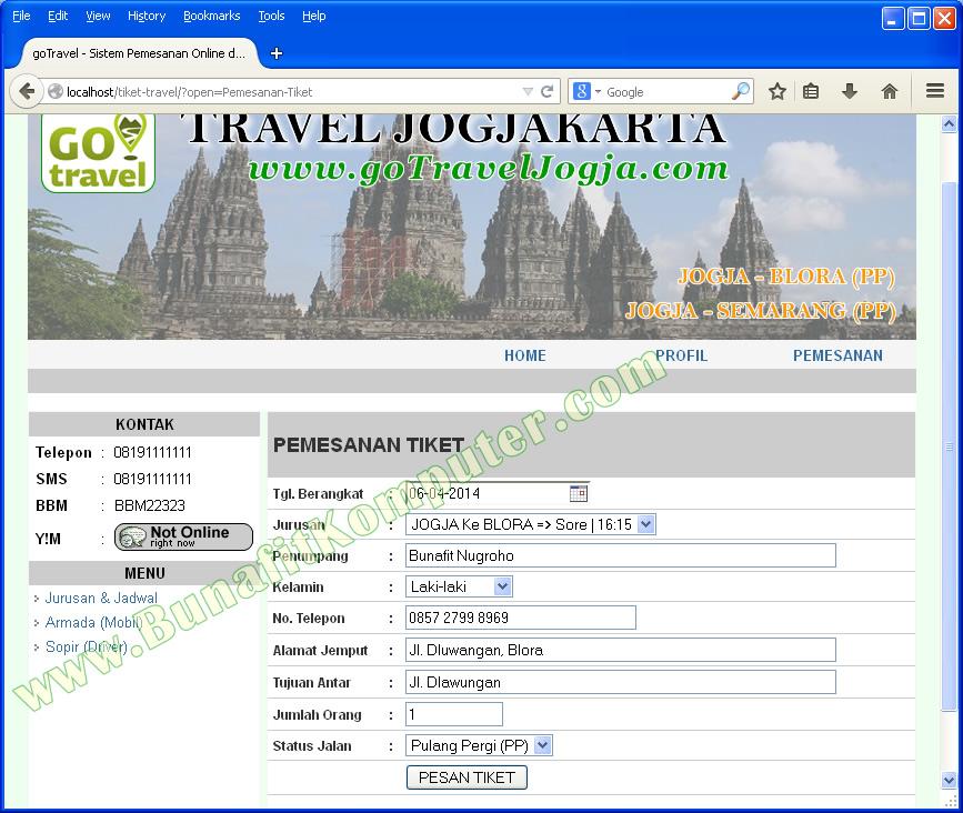 sistem informasi reservasi  pemesanan  tiket dan penjualan tiket travel berbasis web dengan php