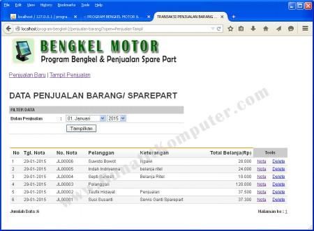 Halaman Tampil Data Transaksi Penjualan Sparepart