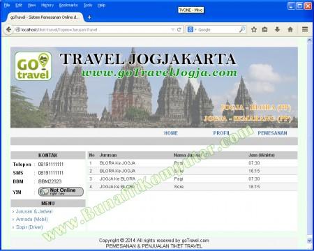 Halaman Utama Pengunjung, dapat melihat Rute dan Jadwal