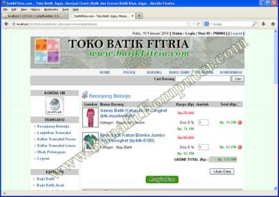 Keranjang Belanja - Website E-Commerce Toko Online Sisetm Informasi Penjualan Secara Online