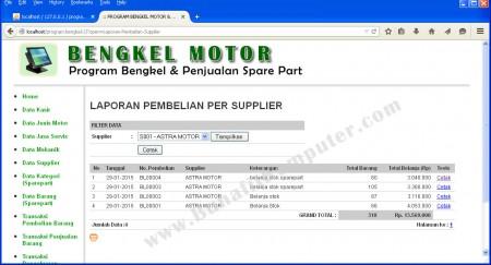 Laporan Pembelian Stok Sparepart dengan Filter Data Supplier