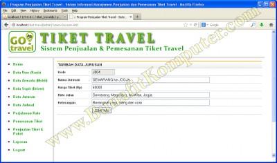Manajemen Data Jurusan - Menambah Data Jurusan Baru - Sistem Informasi PemesananTiket Travel berbasis Web dengan PHP MySQL Dreamweaver