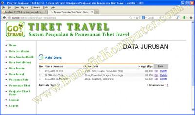 Manajemen Data Jurusan, menampilkan semua data Jurusan yang sudah diinput.