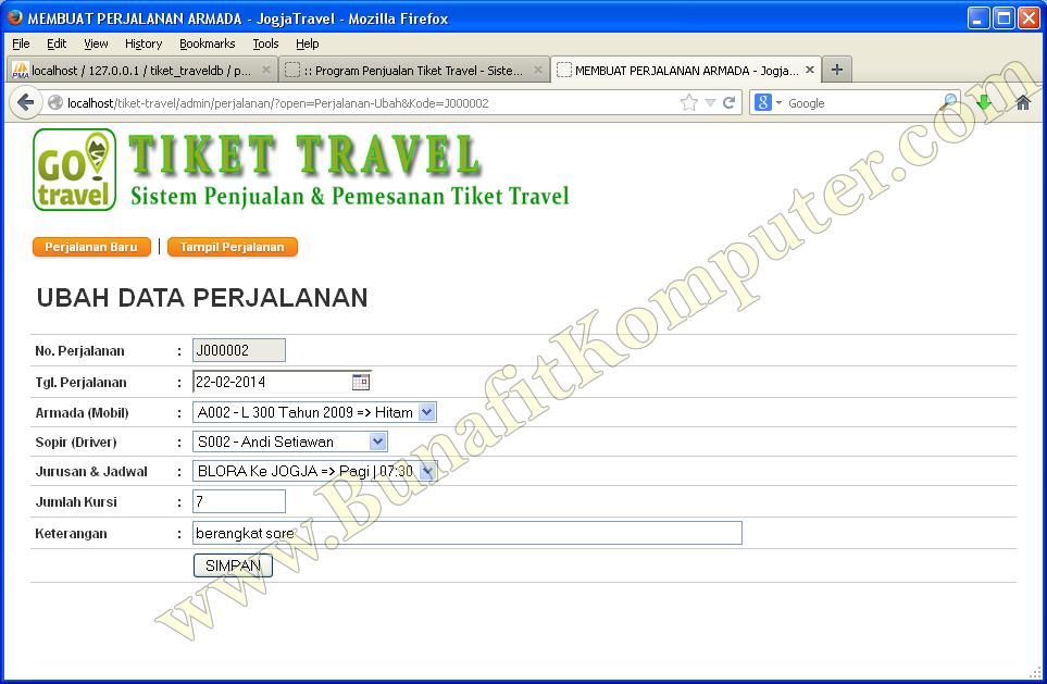 Program Aplikasi Penjualan Tiket Travel Bunafit Komputer