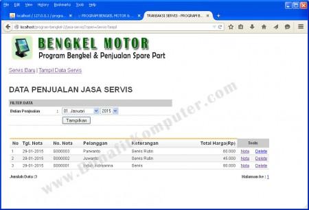 Menampilkan Data Servis Kendaraan