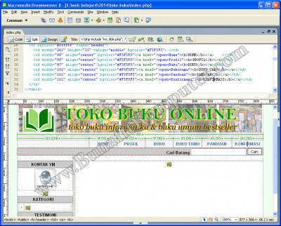Modifikasi Website E-Commerce Toko Online lewat Dreamweaver