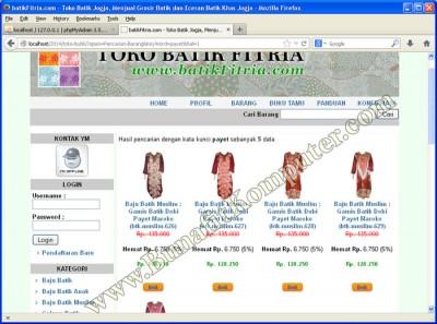 Pencarian Produk Barang - Website Toko Online Sistem Infromasi Penjualan Barang Secara Online