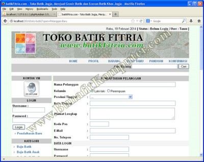Pendaftaran Pelanggan - Website E-Commerce Sistem Informasi Toko Online PHP