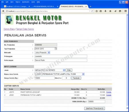 Penjualan Jasa Servis Motor
