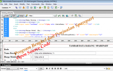 Program Aplikasi Bengkel dan Penjualan Sparepart Open Source Code