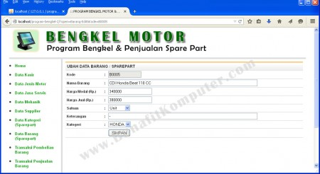 Program Tambah dan Ubah Data Sparepart