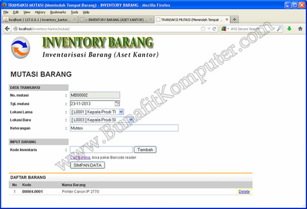 Source Code Program Inventory Alat Bunafit Komputer