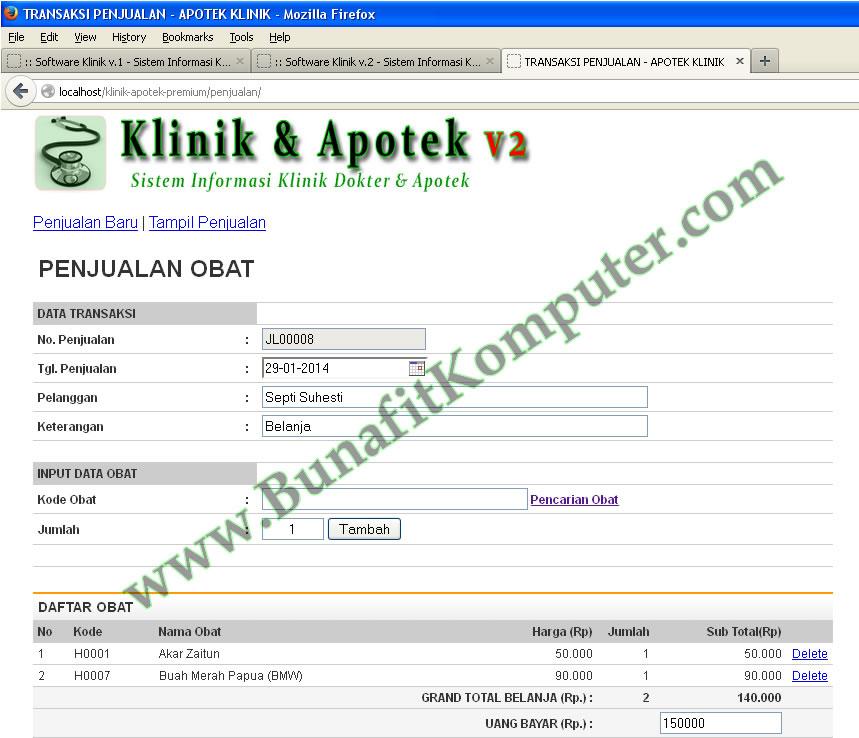 Program Klinik Dokter Dan Apotek Bunafit Komputer