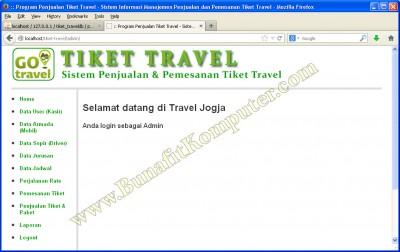 Program Utama setelah Login, Sistem Informasi Reservasi (Pemesanan) Tiket Travel berbasis Web dengan PHP MySQL