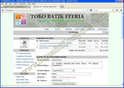 Tamplan Program Checkout (Lanjutkan) pada Website E-Commerce Sistem Informasi Toko Online