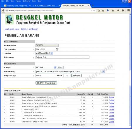 Transaksi Pembelian Barang dan Sparepart