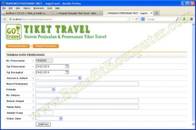 Transaksi Pemesanan Tiket. Pelanggan memesan Tanggal Berangkat dan Jurusan serta Tanggal Keberangkatan