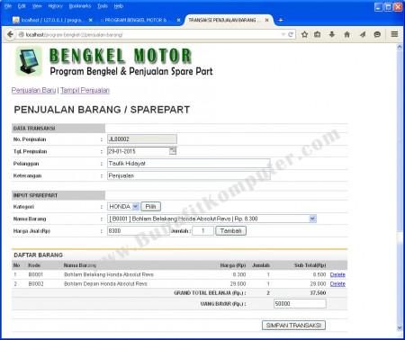 Transaksi Penjualan Barang atau Sparepart Motor