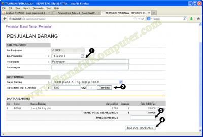 Tampilan Halaman Program Transaksi Penjualan