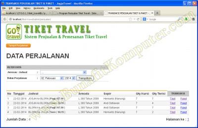 Transaksi Tampil Daftar Penjualan Tiket Travel. Semua data Penumpang sudah diinput, datanya dapat dicetak dari halaman laporan.