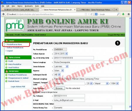Form Pendaftaran Mahasiswa Baru - Part 1. Harus login akun dulu, baru mengakses form pendaftaran mahasiswa baru.
