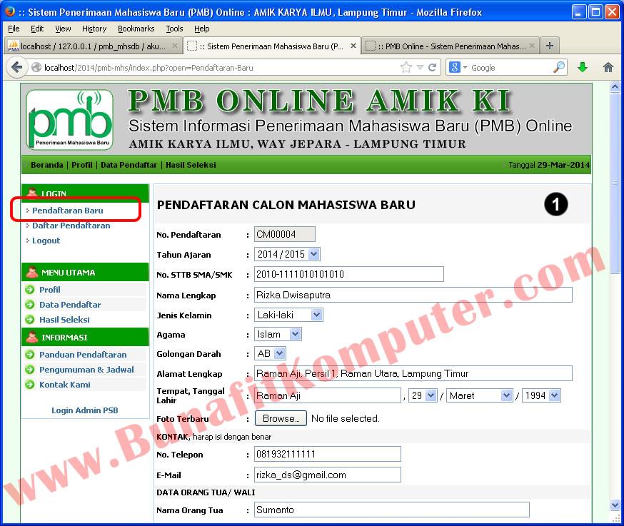 Sistem Informasi Penerimaan Mahasiswa Baru (PMB) Online
