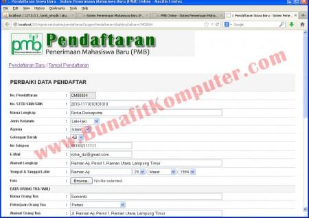 Halaman Admin untuk Memperbaiki Data Pendaftaran Calon Mahasiswa Baru. Juga dapat dipakai untuk Melakukan Pendaftaran Langsung Calon Mahasiswa
