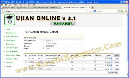 Halaman Program Penilaian Hasil Ujian Mahasiswa