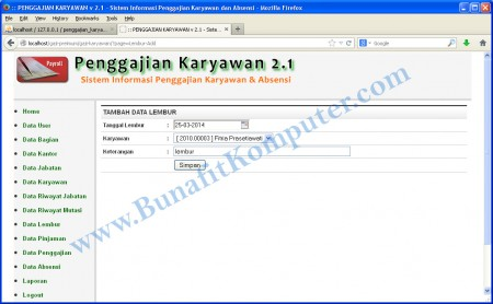 Halaman Program Tambah Data Lembur Karyawan