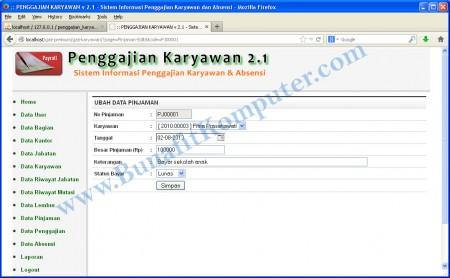 Halaman Program Tambah Data Pinjaman Karyawan