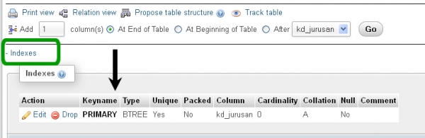 Melihat Daftar Kolom Kunci dalam Tabel MySQL