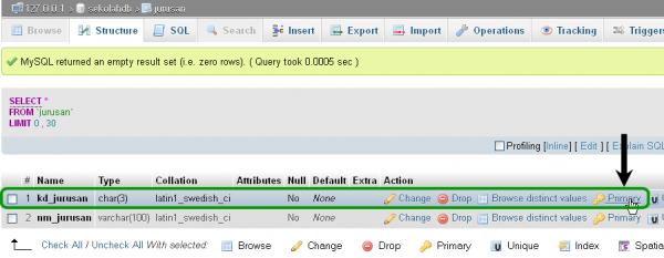 Menambahkan Kunci Utama Primary Key pada Tabel MySQL